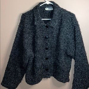 Black and white wool Kiko made in Ireland cardigan
